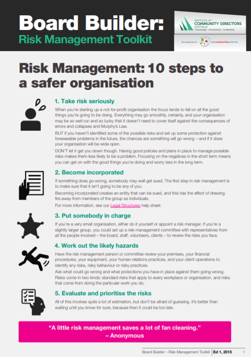 Edition 1, 2015: Risk Management Toolkit