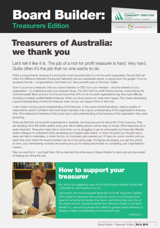 Edition 3, 2015: Saluting the Treasurer